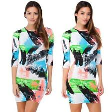 Party 3/4 Sleeve Geometric Regular Size Dresses for Women