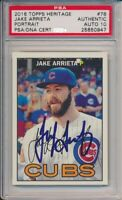 2016 Topps Heritage Jake Arrieta Signed Portrait Card #78 PSA/DNA Auto 10 Cubs