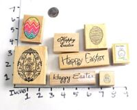 Wooden RUBBER STAMP Block Lot Easter Eggs Bunny Rabbit