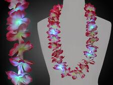 Led Collar Hawaiano de Flor, Party Hawái Rosa Blanco Amarillo, Blinkeffekt