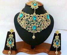 Schmuckset Diamant Blau Gold Schmuck Set Kette Arabisch Hochzeit orientalisch