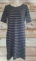 Sportscraft Nautical Navy And White Striped Fitted Short Sleeve Dress Size 10