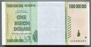 Zimbabwe Original 1 Billion Dollars AA 2008 AUNC P83 x 25 Banknote 1/4 Bundle