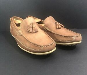 Clarks Mens 11M Brown Leather Driving Loafers Mocs Slip Ons 63647 Tassles