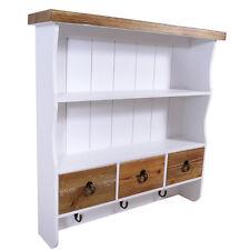 Muro guardarropa Trio estilo campestre 3 ganchos de ropa de madera look vintage blanco