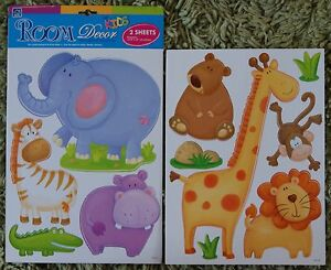 Baby Childrens Kids Boys Girls Jungle Animals Wall Stickers Decals Stickarounds