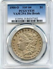 C9083- 1900-O VAM-29A DIE BREAK TOP 100 MORGAN DOLLAR PCGS VF35
