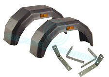2 x Plastic Mudguard Arch Mud Guard LARGE Trailer Wheel Reflectors & Brackets