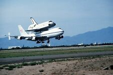 Space Shuttle Challenger on a Boeing 747 lands at Air Force base -New 8x10 Photo