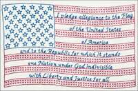 "Stamped White Sampler 11""X14"" Pledge Of Allegiance 013155134902"