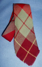 Vintage 1940-50s handwoven WOOL PLAID long TIE men;s REGAL Wool-O-Wisp burgundy
