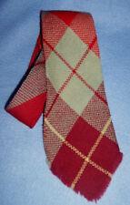 Vintage 1940-50s handwoven WOOL PLAID long TIE men;s REGAL Wool-O-Wisp burgundy