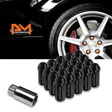 M12X1.25 Black JDM Closed End Cone Hex Wheel Lug Nuts+Extension 25mmx50mm 20Pc