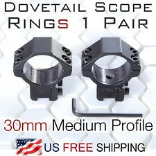 Rifle Scope Mount 1 Pair 11mm 3/8 inch Dovetail 30mm ring Medium Profile CNC T6