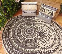 Black & Cream Aztec Pattern Round Rug Fringe Mat Square Filled Cushion Tassels