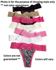 Maidenform One-Size Lace Thong 40118 3-Pack -- Assorted Colors