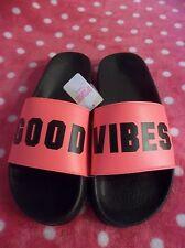 "Victoria's Secret PINK Neon Orange ""Good Vibes"" Sandals Small S NWT"
