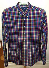 KRONSTADT Denmark Funky Mens Coloured Check Plaid L/S Slim Fit Cotton Shirt L