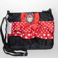 New Disney Parks Minnie Mouse Black Satin Cameo Red Soft Child or Adult Purse