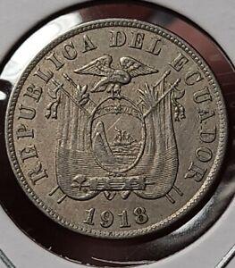 1918 5 Centavos Ecuador Rare Coin. KM 60.2