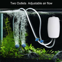 Adjustable Aquarium Air Pump Two Outlets 90GPH for 40-100 Gallon Fish Tank 8W