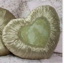 Shabby Chic French Country Cushion / Throw Pillow Green Heart Velvet +Lace