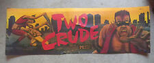 """POOR CONDITION two crude STICKER   23 2/4 - 8"""" arcade game sign marquee cF44"""