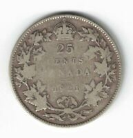 CANADA 1921 TWENTY FIVE CENTS QUARTER KING GEORGE V 800 SILVER COIN