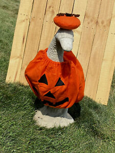 """Cement goose clothes outfit Pumpkin Halloween Jack o' Lantern 25-27"""" Large"""