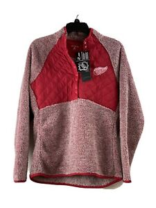 New Antigua Women's Detroit Red Wings Red Quarter Snap Pullover Furry NHL Med