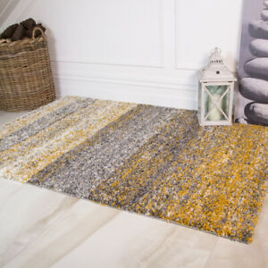 Modern Ochre Mustard  Yellow Floor Rug Living Room Small Large Soft Shaggy Rugs