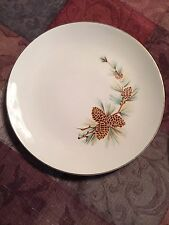 Lot of 7 Vintage Royal PINE CONE Luncheon Plates 22K USA