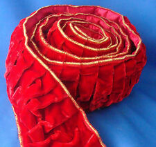 "9 feet deluxe velvet pleated Christmas ribbon garland 4"" wide red & gold"