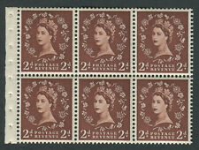 SB.79 1961 2d Light Red-Brown Booklet pane of 6 with selvedge, Unmounted mint.
