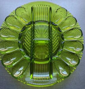 Vintage Indiana Glass Deviled Egg & Relish Plate Diamond Point Platter Green