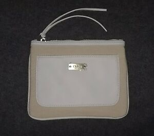 NEW CHLOE PARFUM Beige and White Cosmetic Makeup Canvas Bag