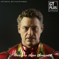 GT Plus 1:6 PVC Man Tony Stark Iron Man Head Carved Fit 12'' COO Action Figure