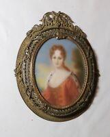 antique 1800's Victorian lady miniature portrait painting bronze filigree frame.