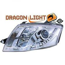 LHD Projector Headlights Pair LED Dragon Clear Chrome For Audi TT Coupe 98-06