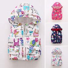 Toddler Baby Girl Warm Cotton Vest Coat Jacket Kids Outwear Hooded Waistcoat Top