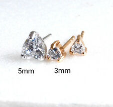 Men Girl Heart Stud Earrings 18K Yellow Gold Plated 3mm Small Simulated Diamond