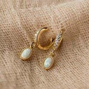 4Ct Oval Cut Unique Opal Drop & Dangle Clip On Earrings 14K Yellow Gold Finish