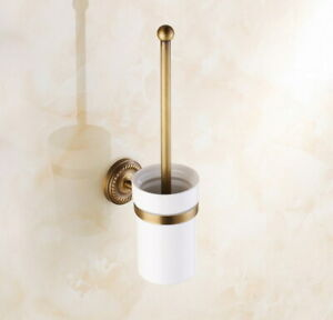 Antique Brass Wall Mounted Bathroom Toilet Cleaning Brush and Holder Set Qba271