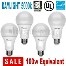 4 100W Replacement 15W LED Light Bulb Daylight 5000K A19 E26 Base Dimmable 1600L