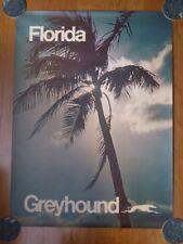 Vintage Original Greyhound Bus Poster Florida Advertising Sign Travel 38x28 RARE