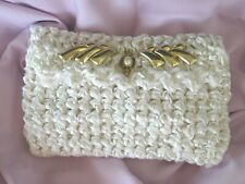 New Handmade White & Gold Detailed Bridal Evening Purse/Clutch ~ Removable Strap
