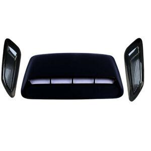 3Pcs Gloss Black Car Hood Scoop Center & Side Air Flow Vent Intake Decor Cover