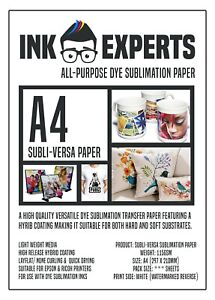 A4 Subli-Versa 115g All-Purpose Sublimation Transfer Paper 50 Sheets