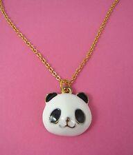 Lindo Colgante De Esmalte Panda Feliz Collar Enchapado En Oro A Estrenar En Bolsa De Regalo