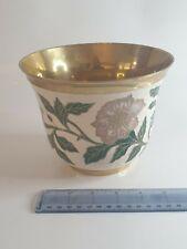 More details for enamelled brass plant pot holder
